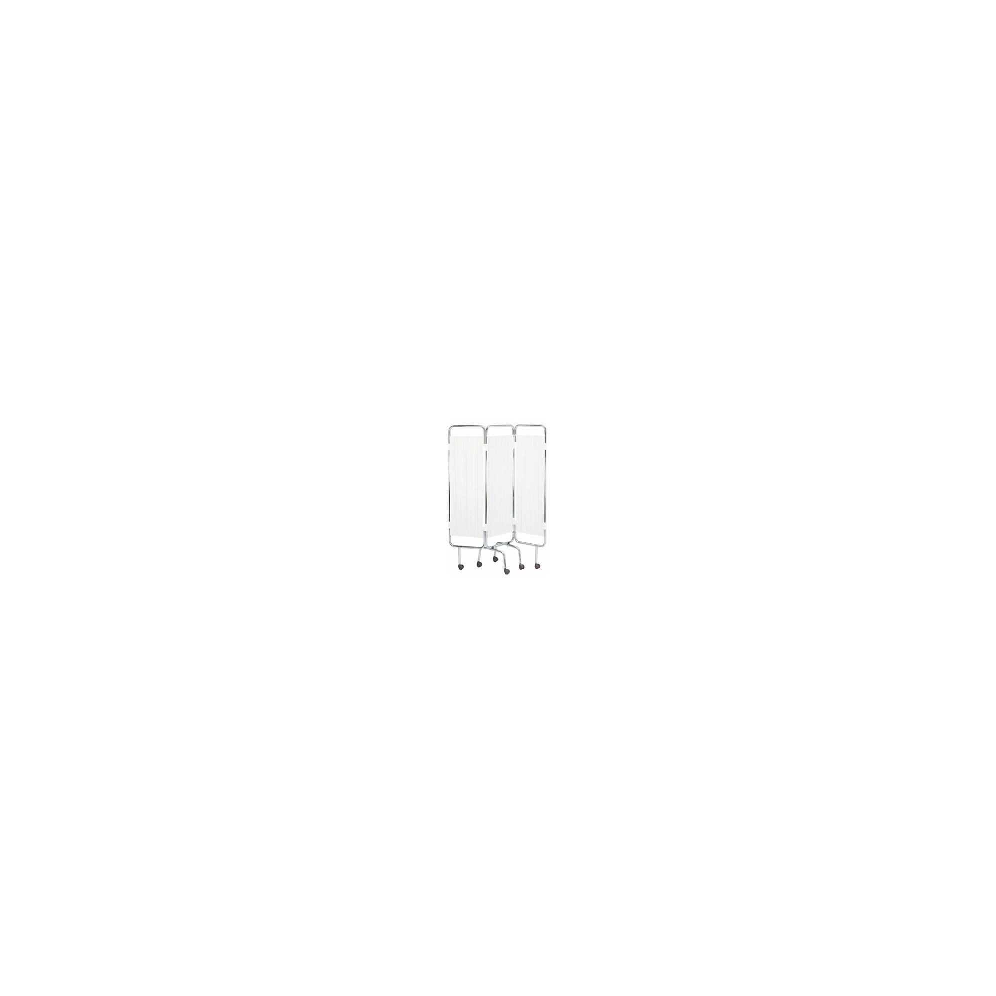 Paravent chromé blanc - 3 panneaux - Avec roulettes