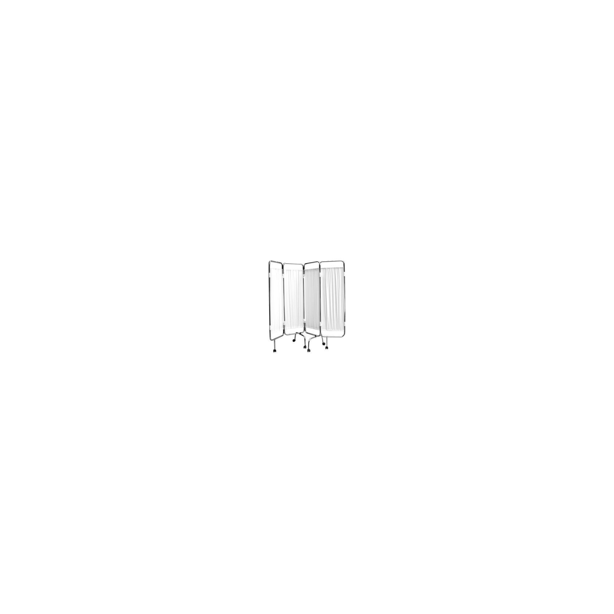 Paravent chromé blanc - 4 panneaux - Avec roulettes