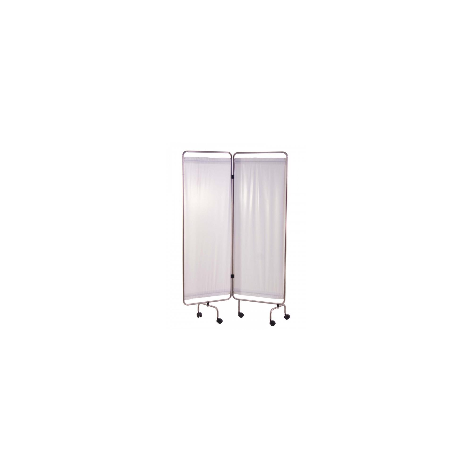 Paravent Inox 2 Panneaux avec Rideaux Tendus - Blanc