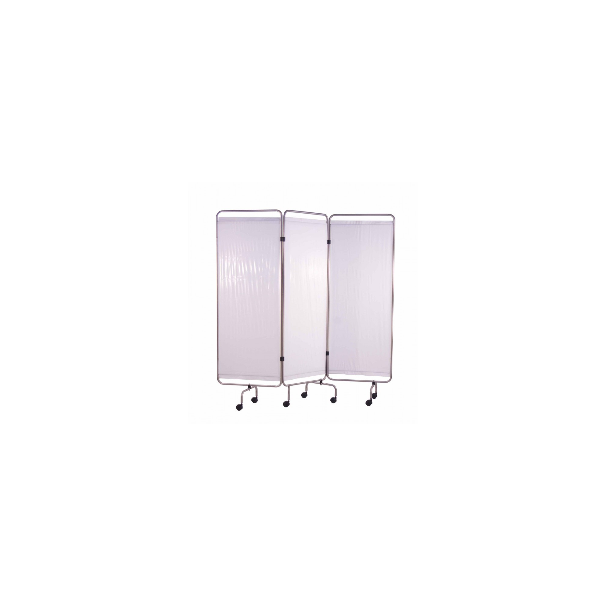 Paravent Inox 3 Panneaux avec Rideaux Tendus - Blanc