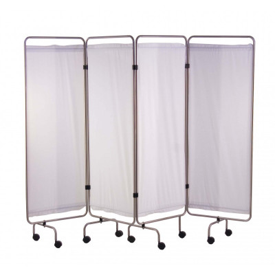 Paravent Inox 4 Panneaux avec Rideaux Tendus - Blanc