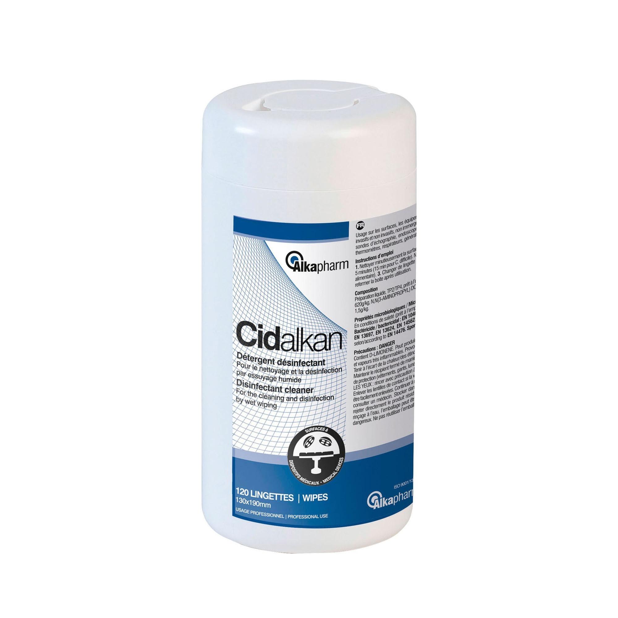 Cidalkan - Désinfection des surfaces, équipements et dispositifs médicaux - 120 lingettes - Alkapharm