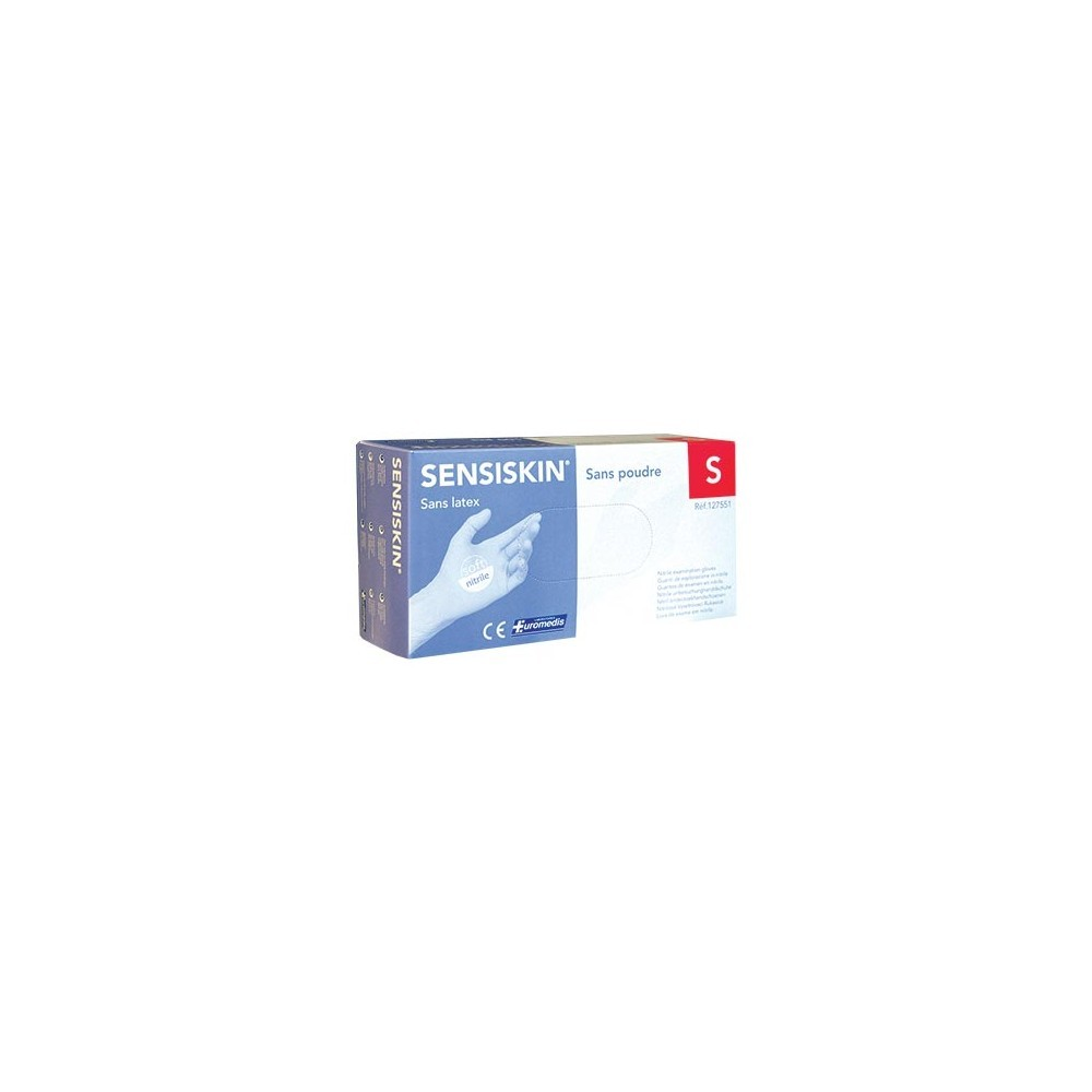 Gants d'examen - Nitrile - Sans poudre - Ambidextres - Boite de 100 - L - Sensiskin