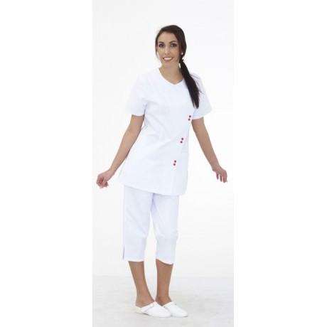 Tunique femme manches courtes blanche avec pression rouge