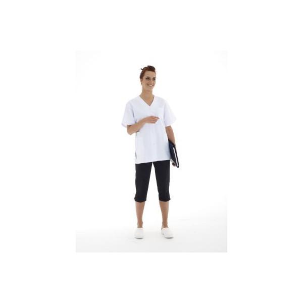 Blouse blanche manches courtes 4 poches