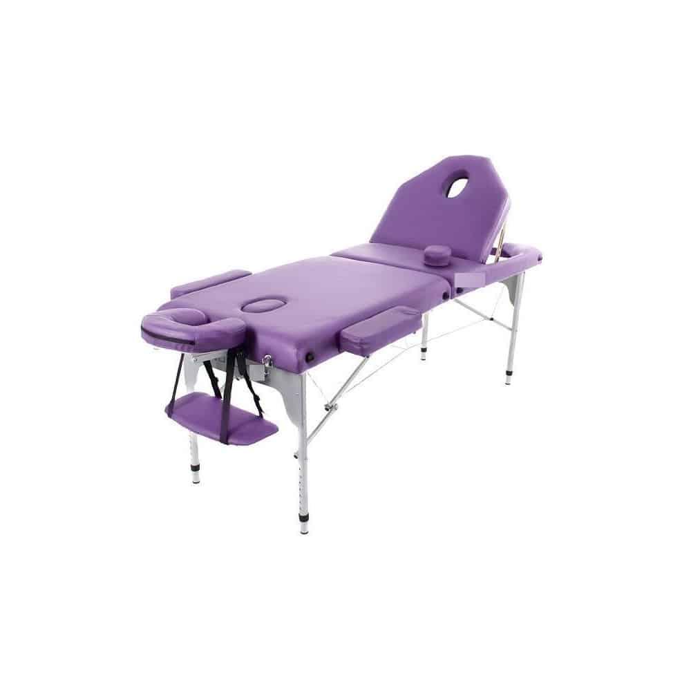 table de massage pliante en aluminium 194 x 70 cm avec dossier inclinable mauve my podologie. Black Bedroom Furniture Sets. Home Design Ideas