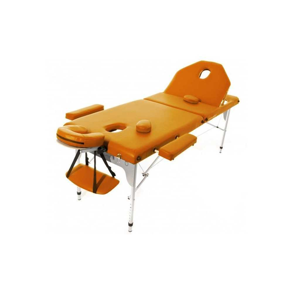Table de massage pliante en aluminium 194 x 70 cm avec dossier inclinable Orange