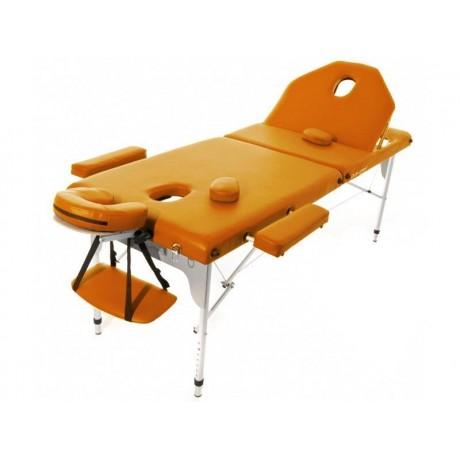 Table de massage pliante en aluminium 194 x 70 cm avec dossier inclinable Orange