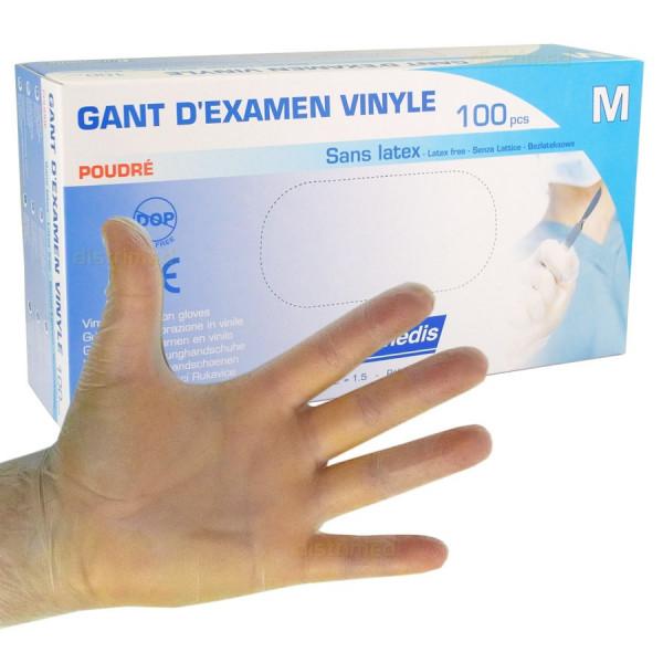 Gants d'examen - Vinyle - Pré-poudrés - Ambidextres - Boite de 100 - Euromédis