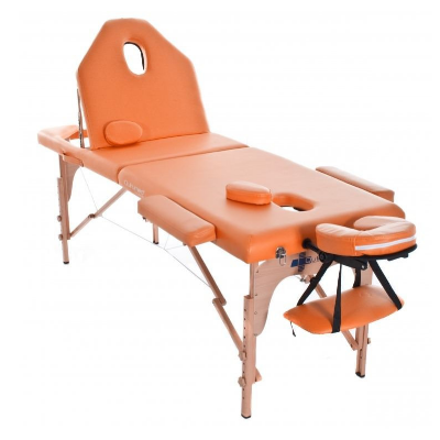 Table de massage pliante en bois 186 x 66 cm avec dossier inclinable Orange