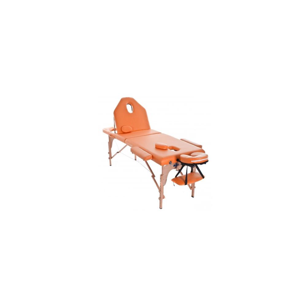 Table de massage pliante en bois 186 x 66 cm avec dossier inclinable Orange