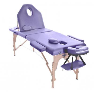 Table de massage pliante en bois 186 x 66 cm avec dossier inclinable Mauve