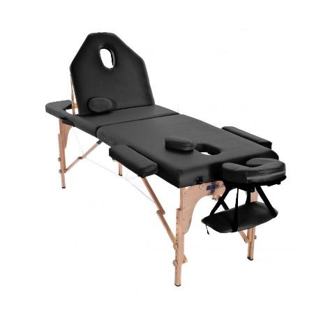 Table de massage pliante en bois 186 x 66 cm avec dossier inclinable Noir
