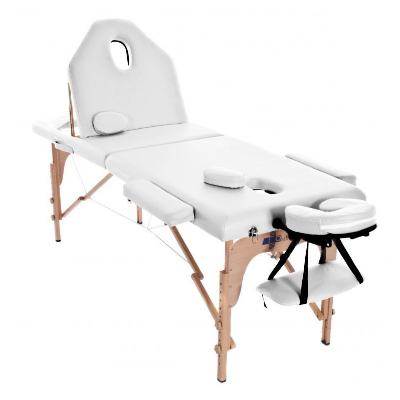 Table de massage pliante en bois 186 x 66 cm avec dossier inclinable Blanc