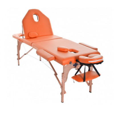 Table de massage pliante en bois 194 x 70 cm avec dossier inclinable Orange