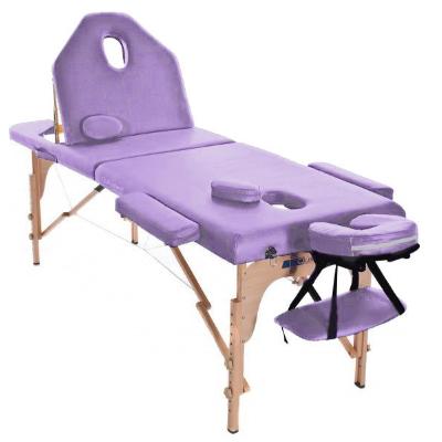 Table de massage pliante en bois 194 x 70 cm avec dossier inclinable Mauve