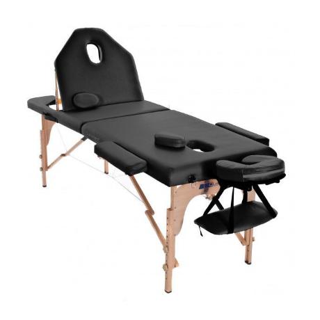 Table de massage pliante en bois 194 x 70 cm avec dossier inclinable Noir