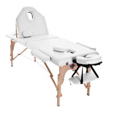 Table de massage pliante en bois 194 x 70 cm avec dossier inclinable Blanc