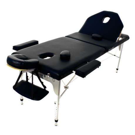 Table de massage pliante en aluminium 194 x 70 cm avec dossier inclinable Noir
