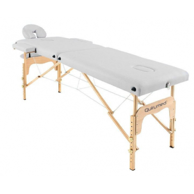 Table de massage pliante en bois 182 x 60 cm sans dossier Blanc