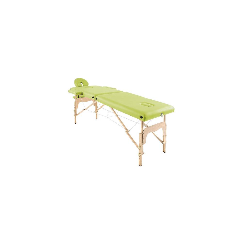 Table de massage pliante en bois 182 x 60 cm sans dossier Vert