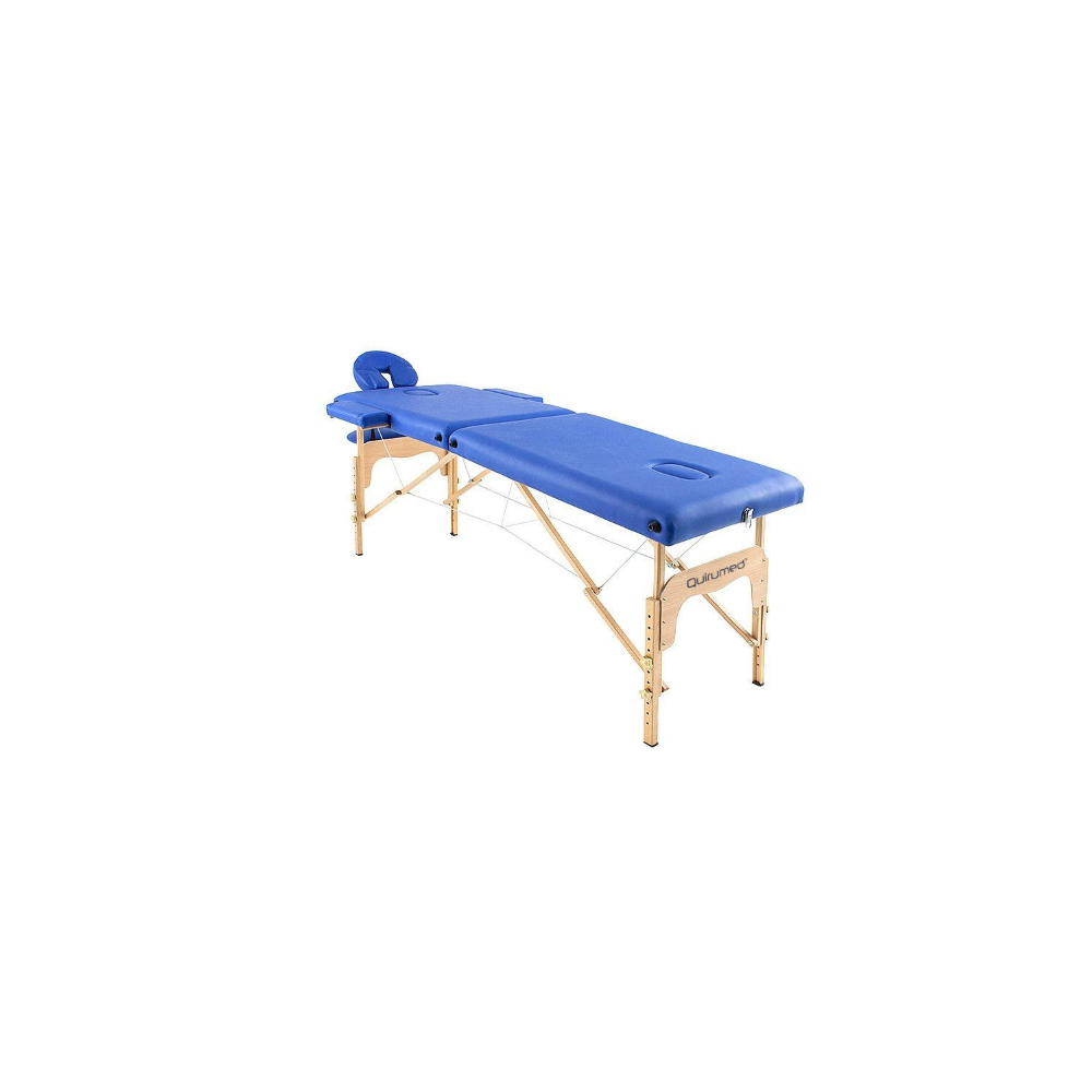 Table de massage pliante en bois 186 x 66 cm sans dossier Bleu