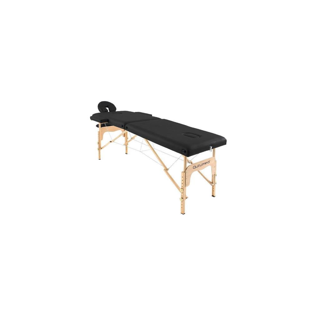 Table de massage pliante en bois 186 x 66 cm sans dossier Noir