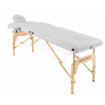 Table de massage pliante en bois 186 x 66 cm sans dossier Blanc