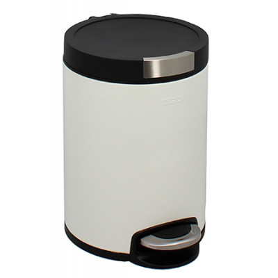 Poubelle Cylindrique 5L Blanc mat anti-trace de doigts