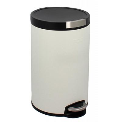 Poubelle Cylindrique 12L Blanc Mat anti-trace de doigts