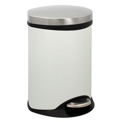 Poubelle Semi Cylindrique 6L Blanc Mat anti-trace de doigts
