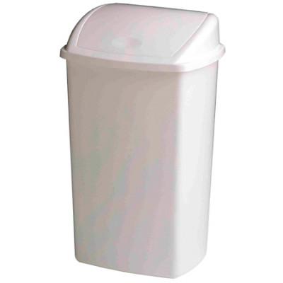 Poubelle Basic en plastique 50L Blanc