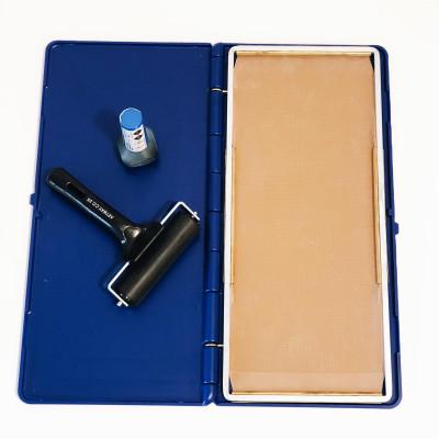 Kit podographe pour prise d'empreinte 1 pied + 1 encre bleue + 1 rouleau encreur
