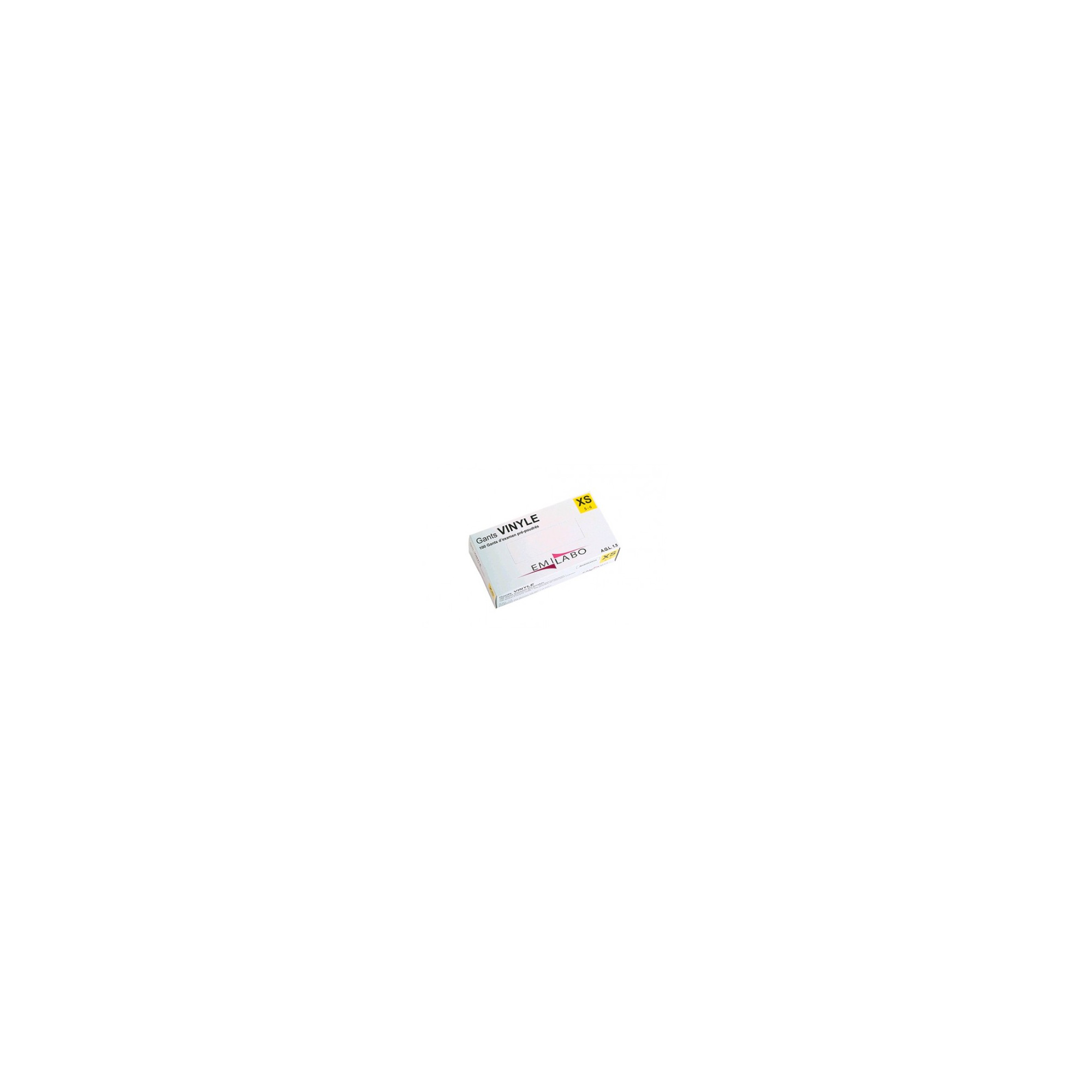 Gants d'examen - Vinyle - Pré-poudrés - Ambidextres - Boite de 100 - Emilabo
