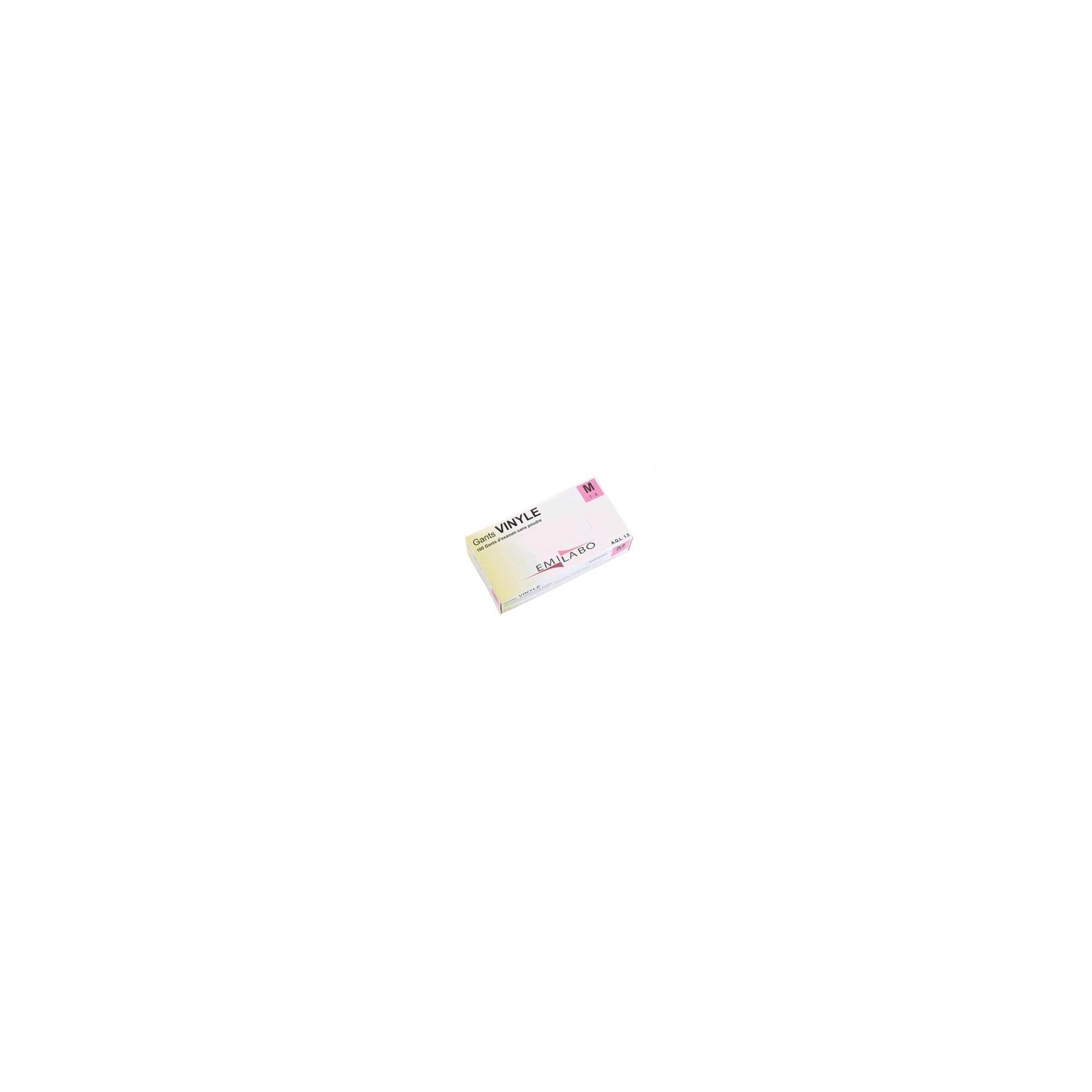 Gants d'examen - Vinyle - Sans poudre - Ambidextres - Boite de 100 - Emilabo