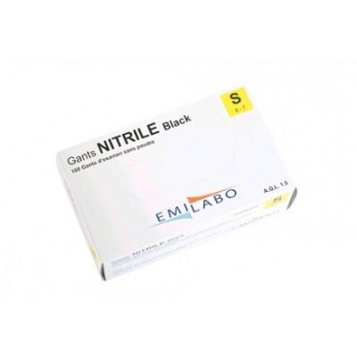 Gants d'examen - Nitrile Black - Sans poudre - Ambidextres - Boite de 100 - Emilabo