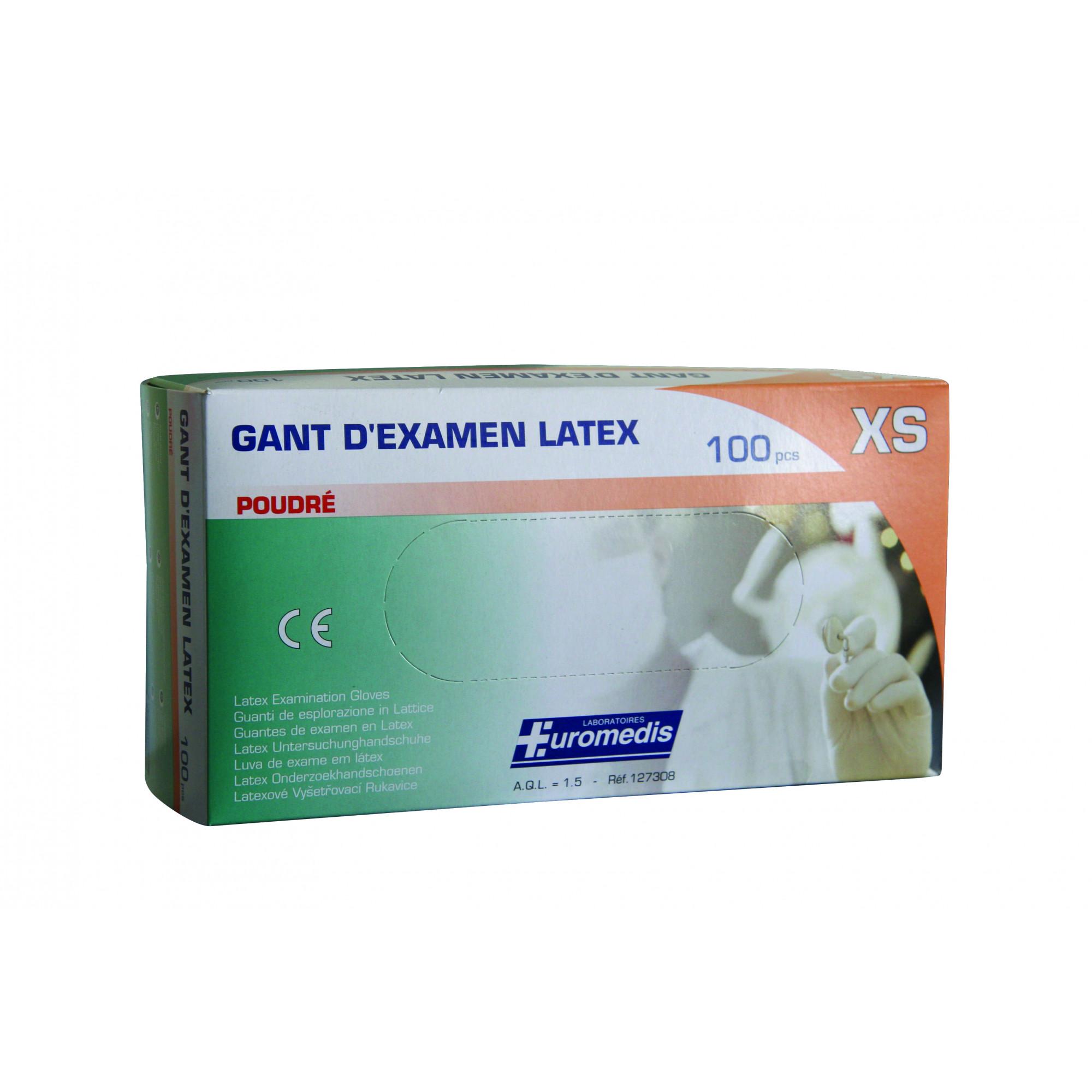 Gants d'examen - Latex - Pré-poudrés - Ambidextres - Boite de 100 - Euromédis