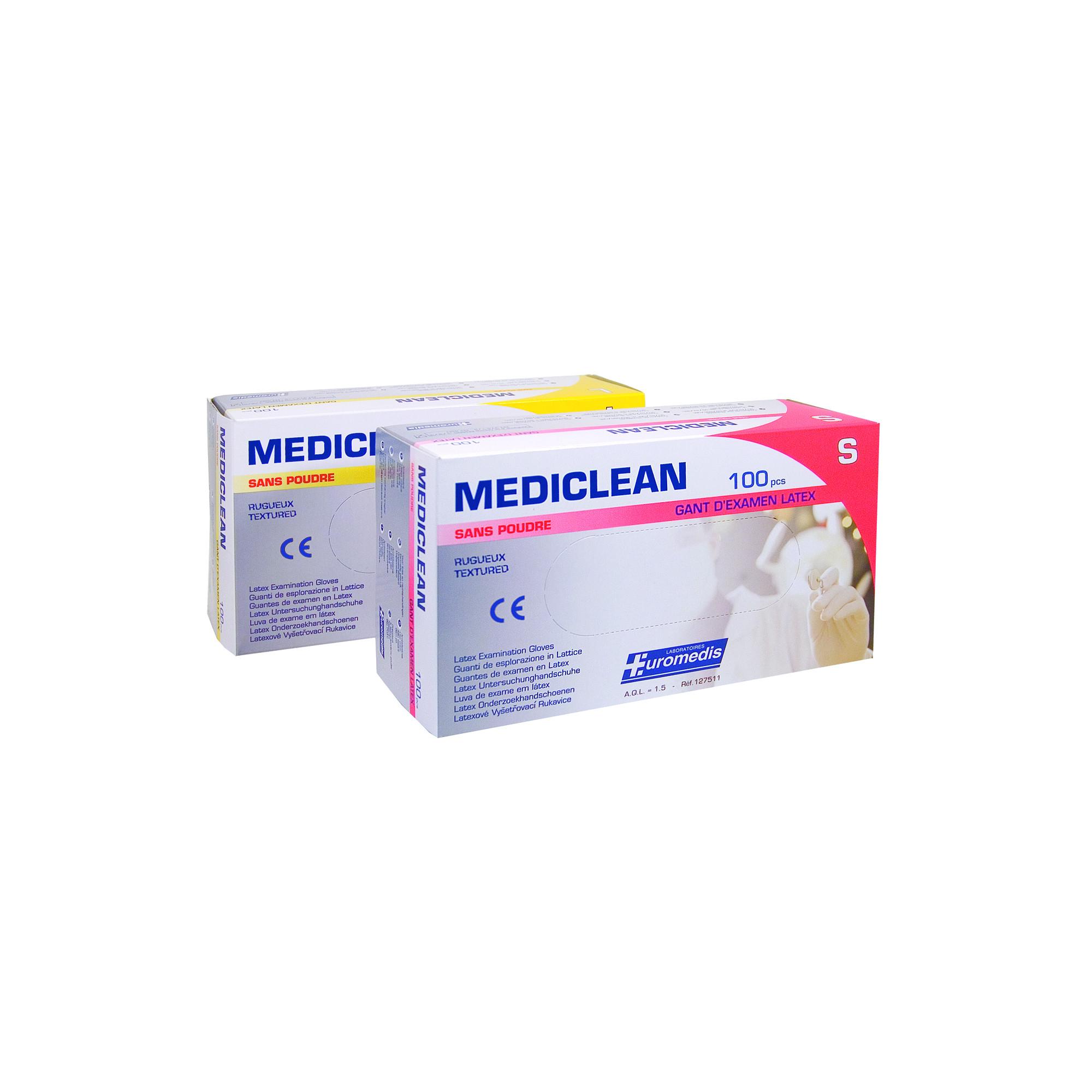 Gants d'examen - Latex - Sans poudre - Ambidextres - Boite de 100 - Mediclean