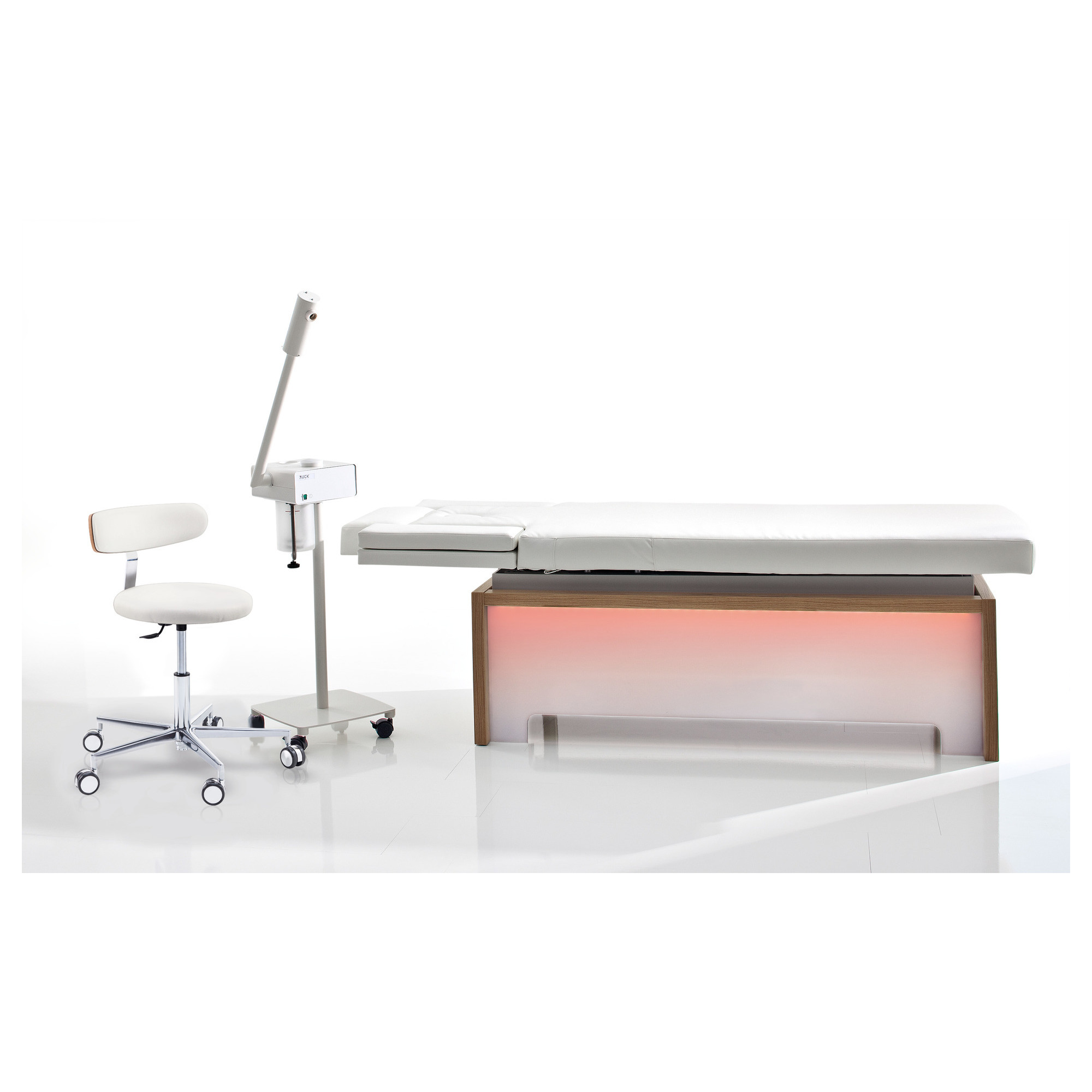 Gamme complète - Table de soins SONORA sans chauffage + siège ROUND + Vaporisateur - Ruck
