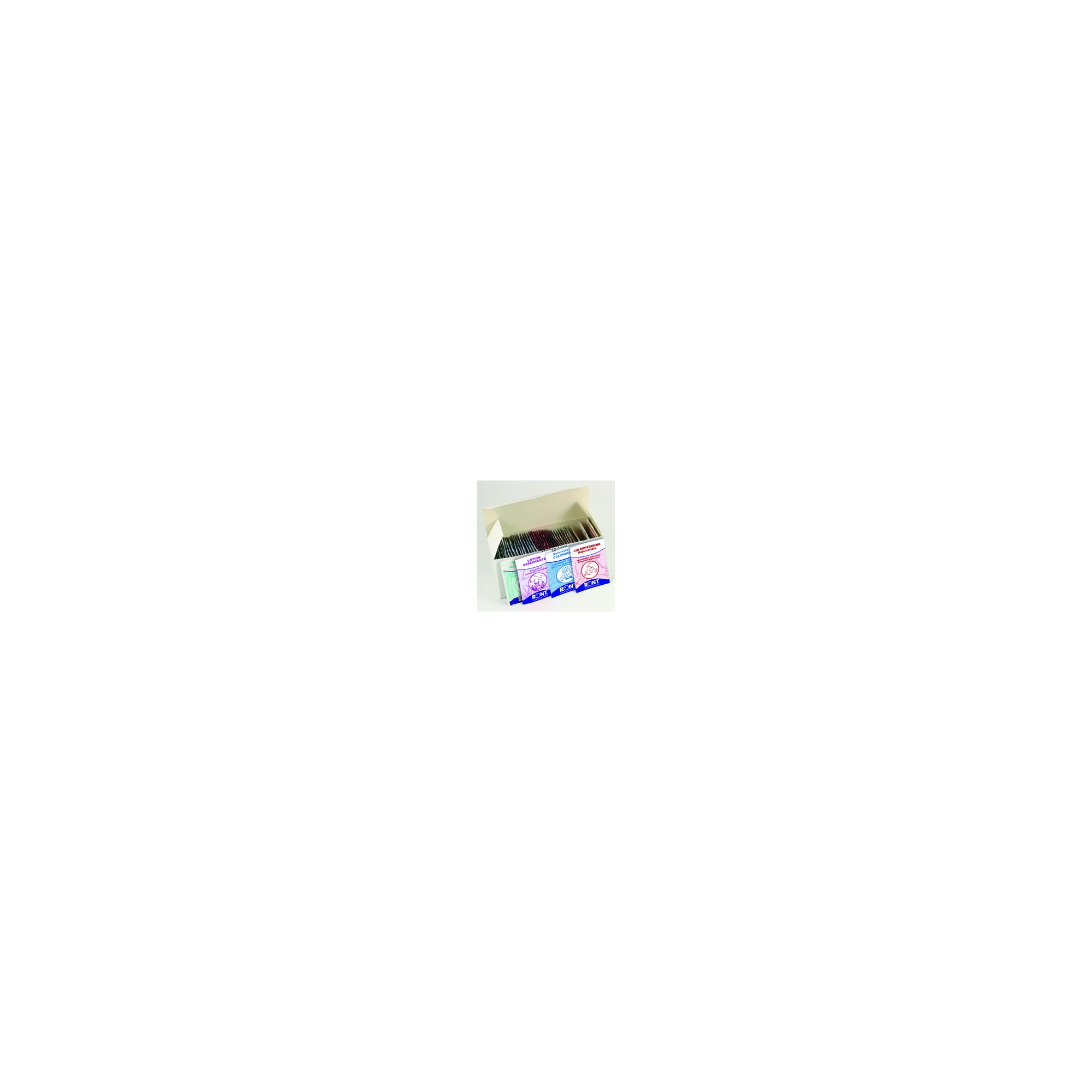 Boîte de 48 sachets panachés - 12 x Alcool - 12 x chlorhexidine - 12 x calendula - 12 x asséchante - Ront