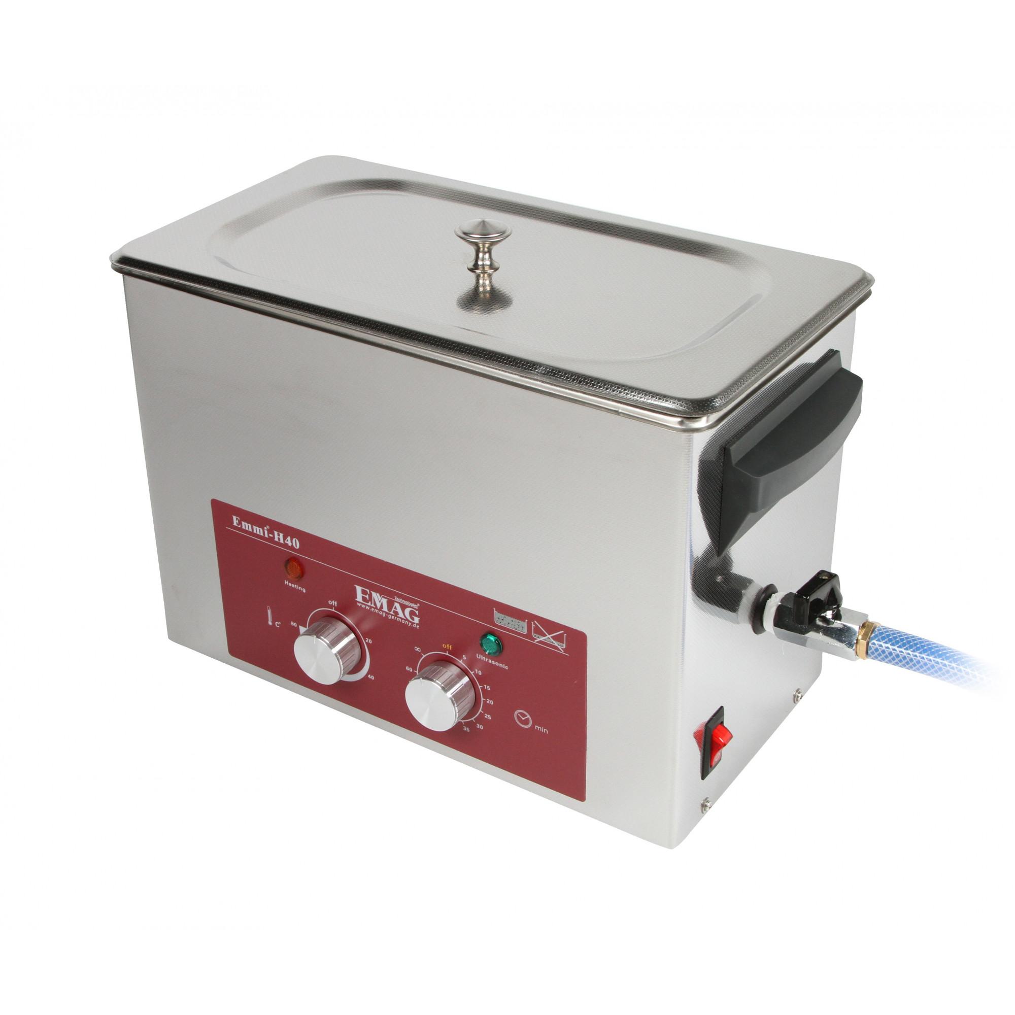 Nettoyeur à ultrasons tout en inox 4L - Emmi-H40 avec robinet de vidange