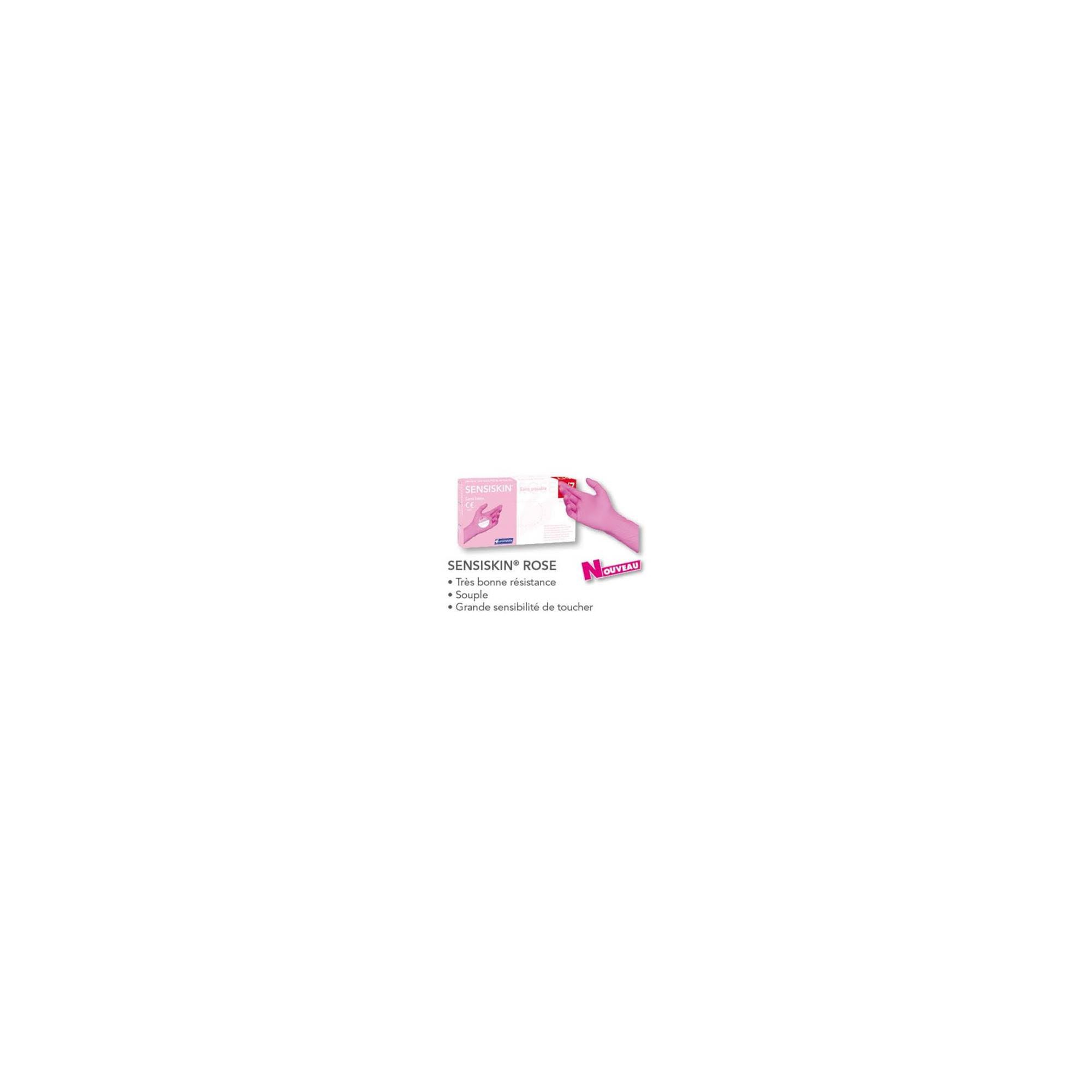 Gants d'examen - Nitrile - Sans poudre - Ambidextres - Boite de 100 - Rose - Sensiskin