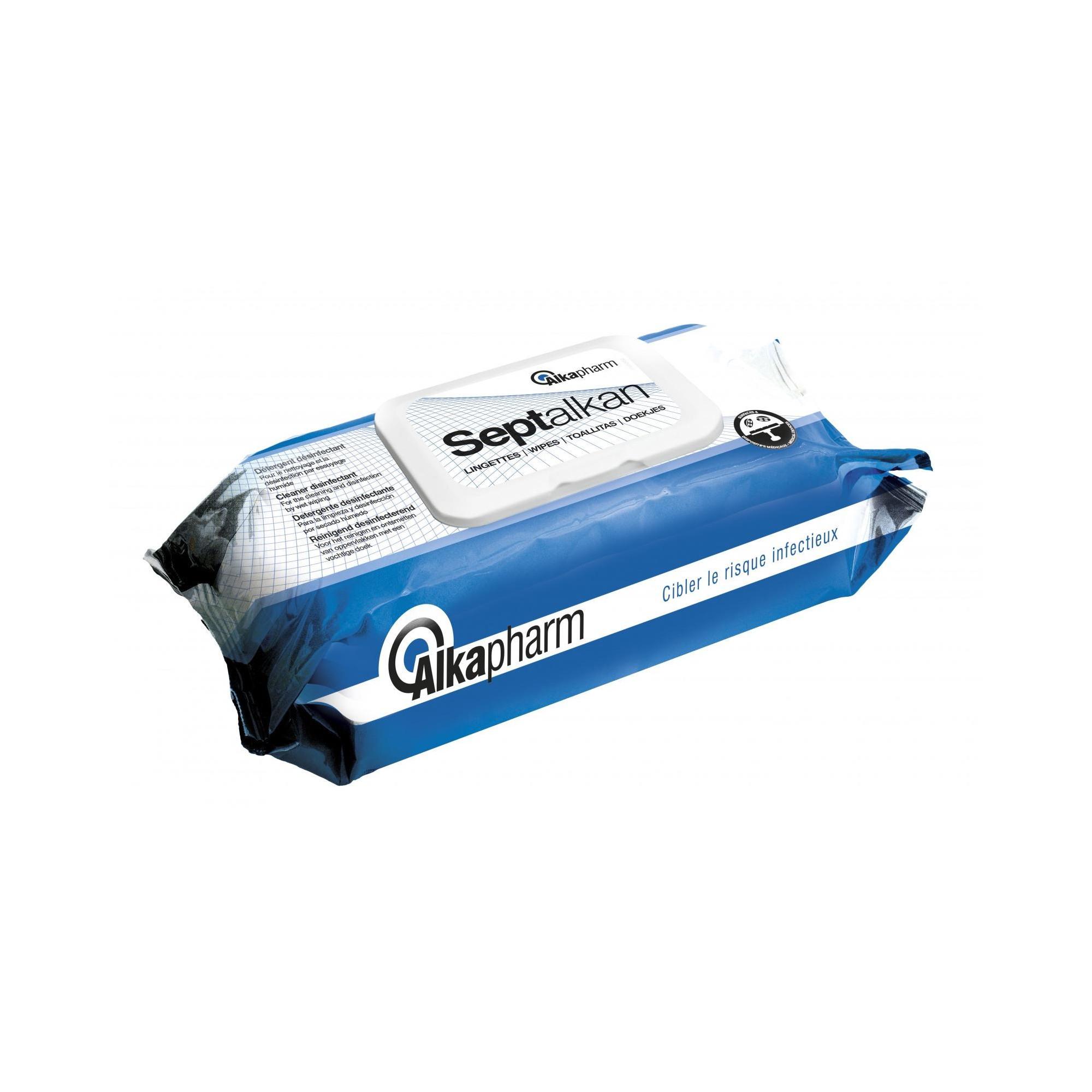 Septalkan - Désinfection des surfaces, équipements et dispositifs médicaux - 100 lingettes - Alkapharm