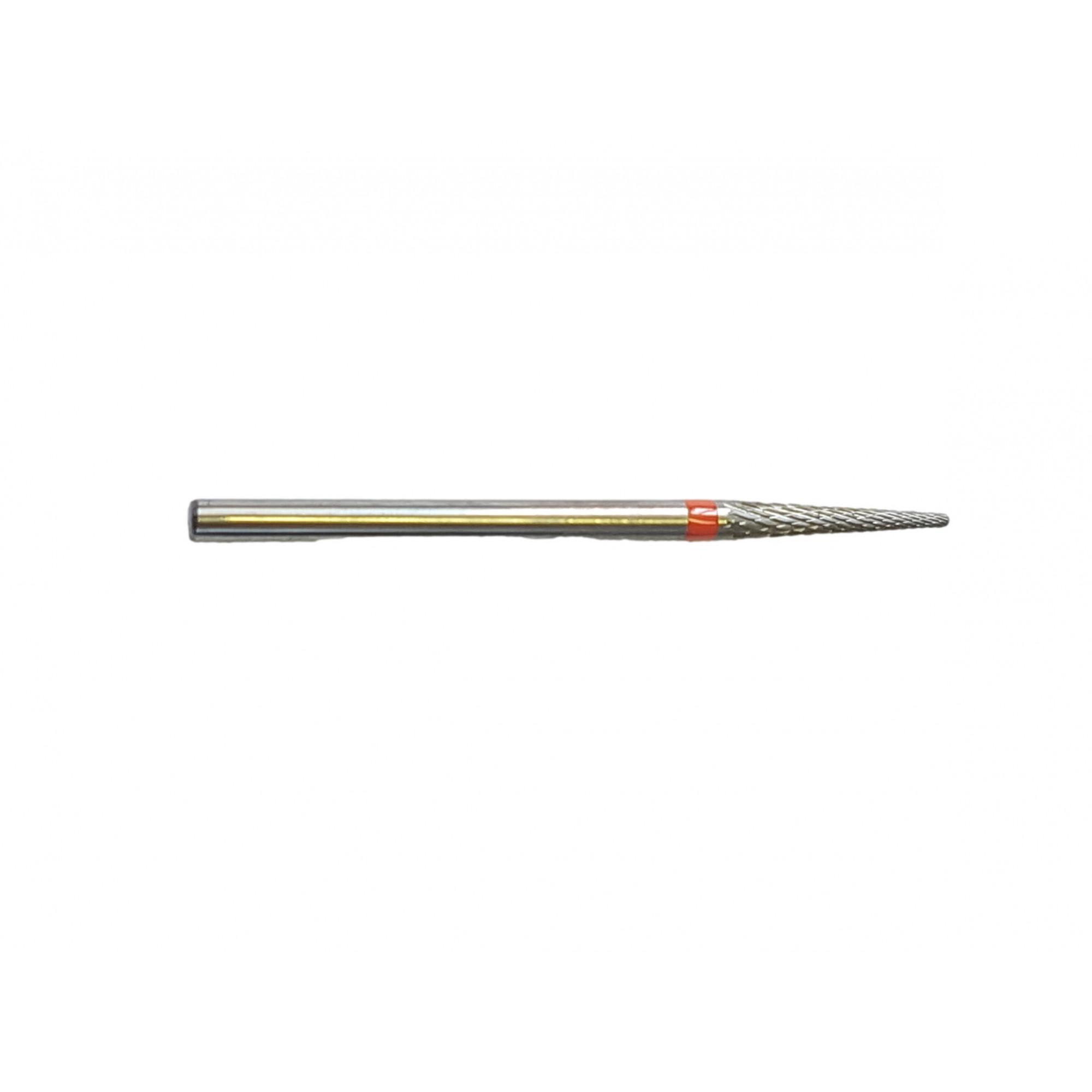 Fraise E0120 Carbure de tungstène - Abrasion et finition des ongles fins - Denture croisée fine - Forme conique - 2,3 mm