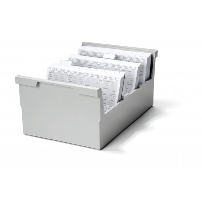 Boîte à fiches verrouillable pour env. 800 fiches - A5 orentation paysage - Gris clair - Ruck